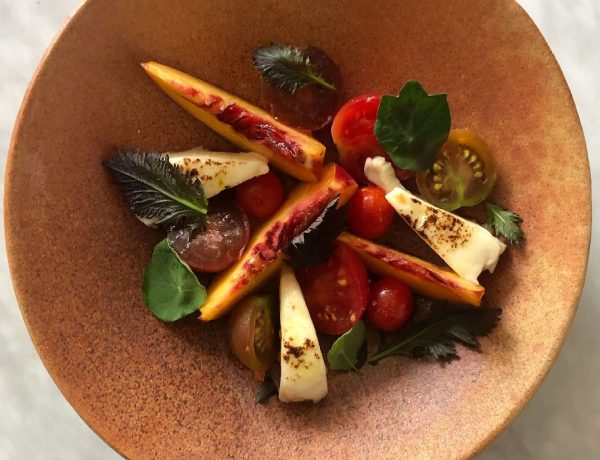 Nectarine and Mozzarella Salad with Fermented Tomato Jelly vera loulou