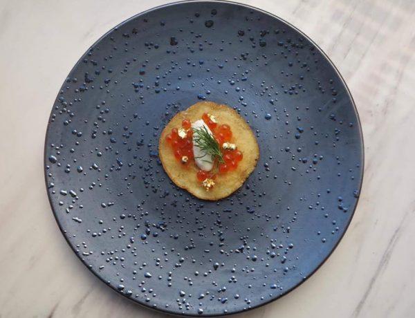 Blinis with Salmon Roe & Creme Fraiche vera loulou 74escape